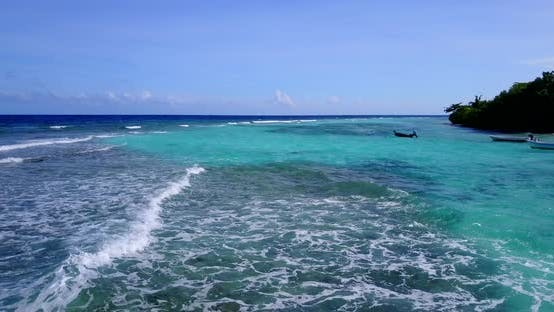 Thumbnail for Natural birds eye island view of a white paradise beach and aqua blue water background in vibrant