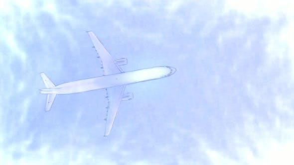 Passenger Plane Top View Stop Motion