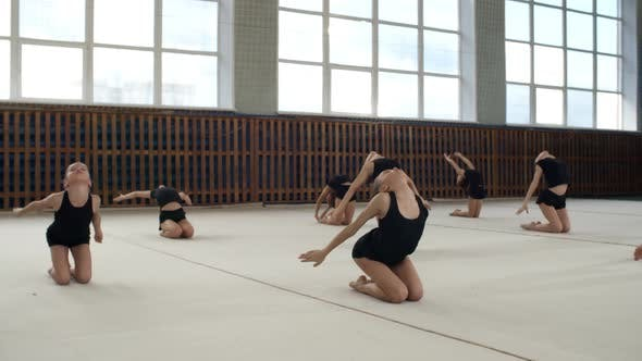 Thumbnail for Teenage Girls Practicing Gymnastics Moves