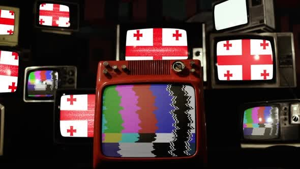 Thumbnail for Flag of Georgia on a Retro TV Wall.
