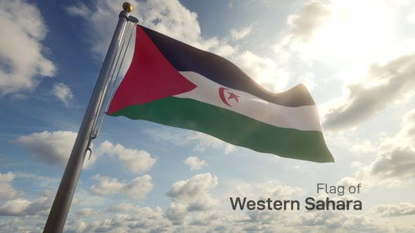 Western Sahara Flag on a Flagpole
