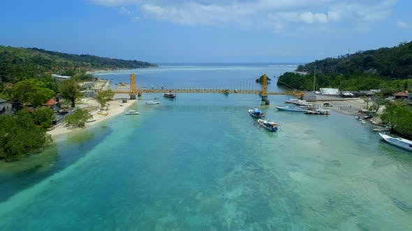 The Yellow Bridge Connecting Nusa Lembongan and Cennigan Islands in Bali