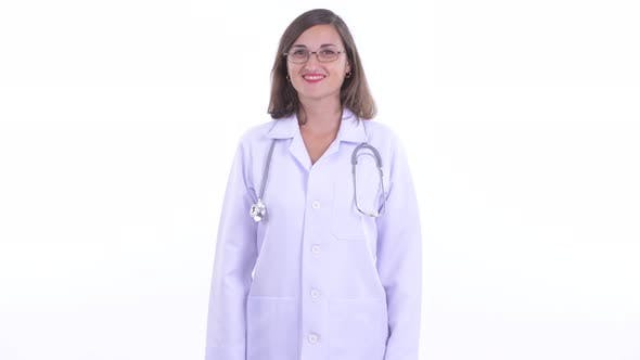 Thumbnail for Happy Beautiful Woman Doctor with Eyeglasses Smiling
