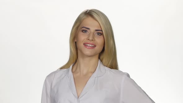 Thumbnail for Female Doctor Smiling To Camera. White