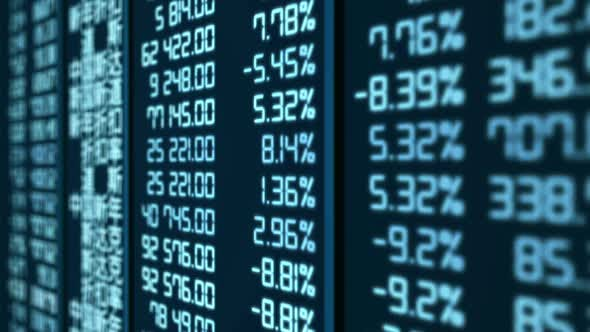 Animated Trading Statistics at Asian Stock Market, Share Price Indices Updating