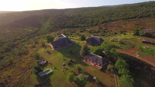 Aerial travel drone view of Addo Bush Palace Private Reserve, Western Cape, South Africa.