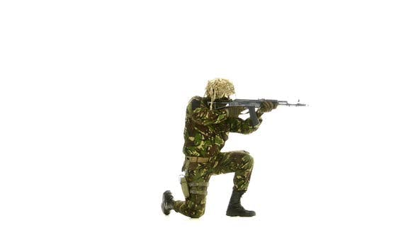 Thumbnail for Armed Man Stands on One Knee. White Background