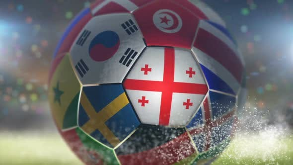 Thumbnail for Georgia Flag on a Soccer Ball - Football in Stadium