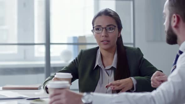 Thumbnail for Business Lady Speaking with Colleague Over Coffee in Office