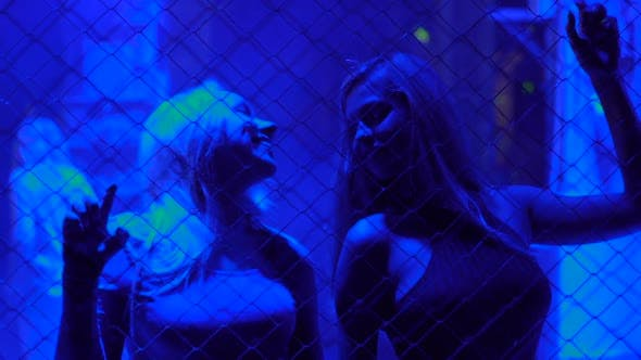 Two Beautiful Girls Dancing Behind Metal Chain Fence at Disco, Night Life