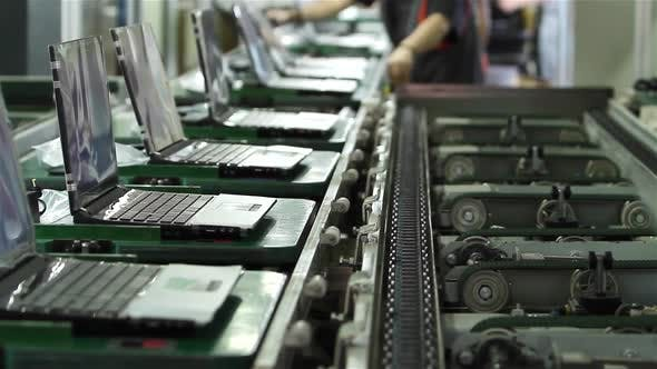 Thumbnail for Conveyor Belt in a Laptop Computer Factory.