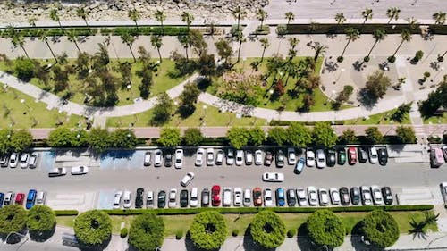 Limassol City Embankment on Sunny Day Aerial View