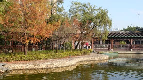 Cover Image for Chinese pavilion park and water pond