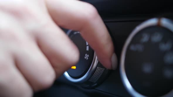 Thumbnail for Woman's Fingers Tuning Knob of Car Air Conditioner