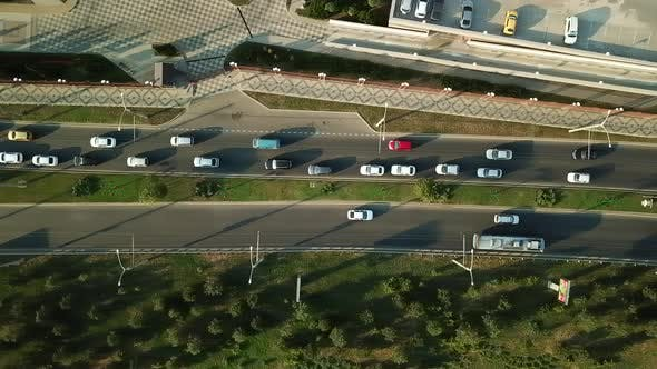Thumbnail for Aerial View of Road Traffic with Cars on the City Road