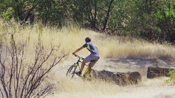 Thumbnail for Man riding mountain bike in nature