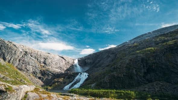 Kinsarvik, Hordaland, Norway. Waterfall Nykkjesoyfossen In Hardangervidda Mountain Plateau. Spring