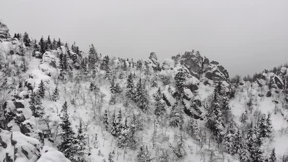 Thumbnail for View From the Top To the River in a Mountain Gorge in Winter