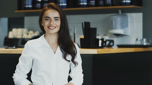 Thumbnail for Pretty Business Lady in Formal Shirt Smiling To Camera with Confidence