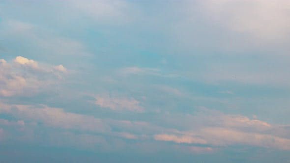 Cloudy Sky Timelapse Background. Abstract Fpuffy Cloudscape in Air Time Lapse.