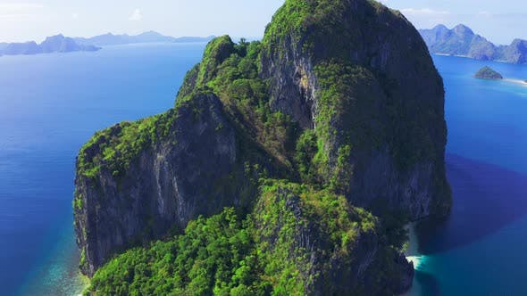 Thumbnail for Amazing Nature Landscape High Rocky Pinagbuyutan Island and Azure Sea of El Nido, Palawan