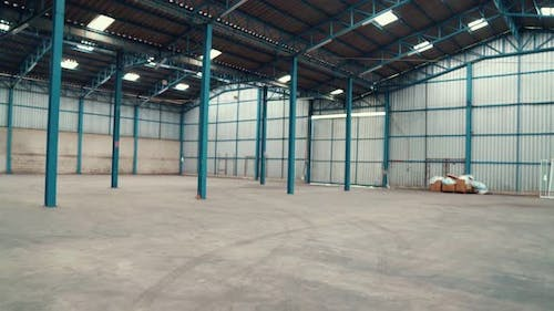 Wide angle view of empty warehouse or factory