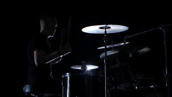 Thumbnail for Good Music in the Performance of a Professional Drummer. Side View. Black Background