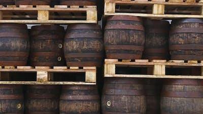 Pallets with vintage oak barrels of craft beer