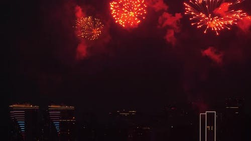 Festive Fireworks Against the Background of the Night City