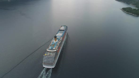 Thumbnail for Large Luxury Cruise Liner Is Going in Fjord of Norway