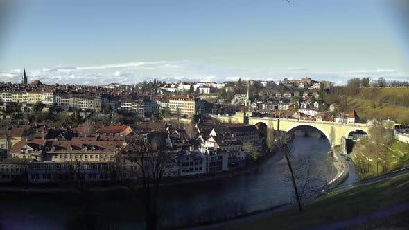Thumbnail for Panorama of Old Beautiful European City and River on Sunny Winter Day, Tourism