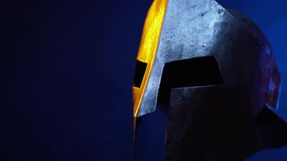 Motion of Iron Ancient Helmet in Darkness.