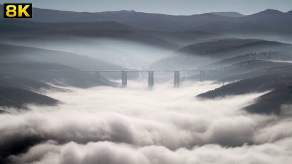 High Highway Bridge Above the Clouds