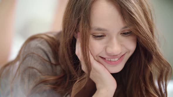 Thumbnail for Playful Woman Flirting at Video Call Online