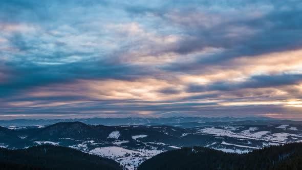 Thumbnail for Sundown Winter Mountain, Timelapse