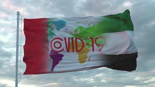 Covid19 Sign on the National Flag of UAE or United Arab Emirates