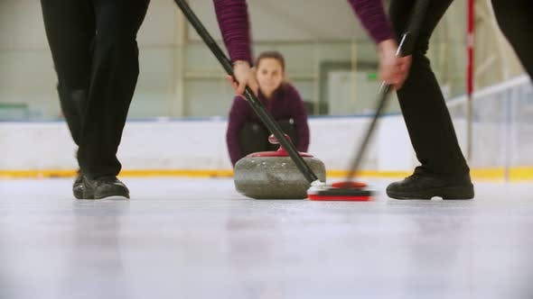 Thumbnail for Curling - Leading Granite Stone on the Ice and Rubbing the Ice Before the Stone