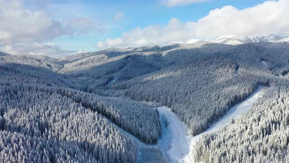 Thumbnail for Aerial View on Forest and Mountains in The Winter Time