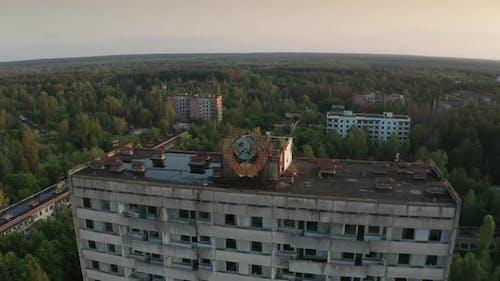 Drone Shot of Pripyat Town Panorama at Sunrise