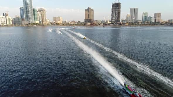 Thumbnail for Aerial view of speedboats during the race in Khalid lake in Sharjah.