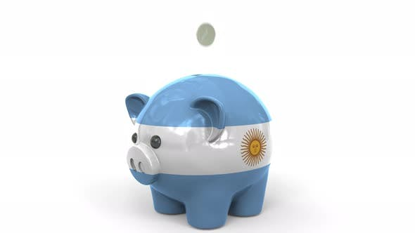 Thumbnail for Coins Fall Into Piggy Bank Painted with Flag of Argentina