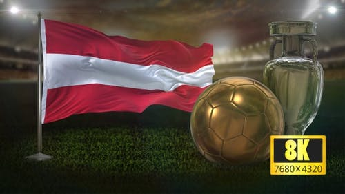 8K Austria Flag with Football and Cup Background Loop