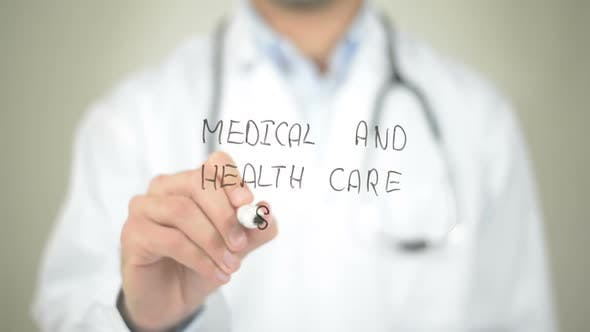 Thumbnail for Medical and Health Care System, Doctor Writing on Transparent Screen