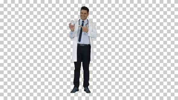Thumbnail for Pharmacist Man Looking Camera Posing and Showing White Bottle