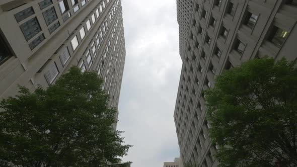 High rise buildings on a street