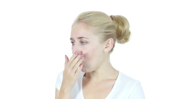 Cover Image for Woman Suffering From Cough, White Background