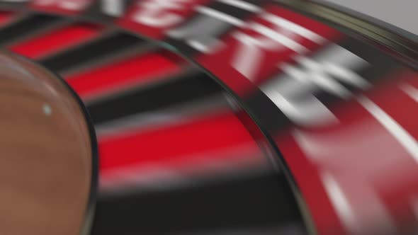 Thumbnail for Ball in Ruble Sign Pocket on Casino Roulette Wheel