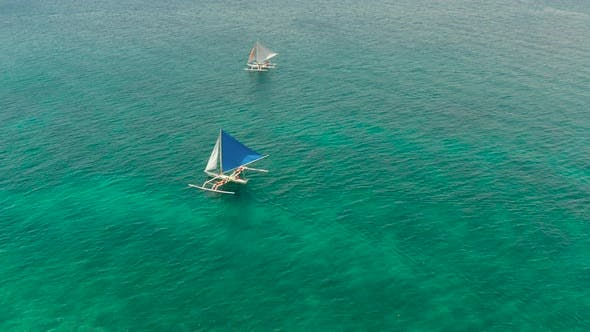 Thumbnail for Sailing Yacht in Blue Sea. Boracay Island Philippines