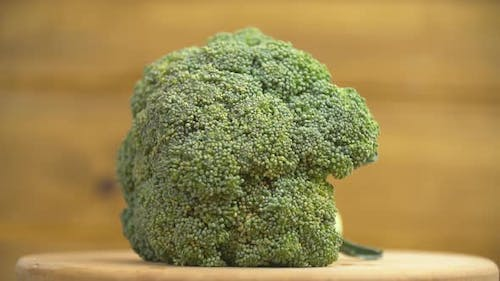 Broccoli on a Wooden Tray