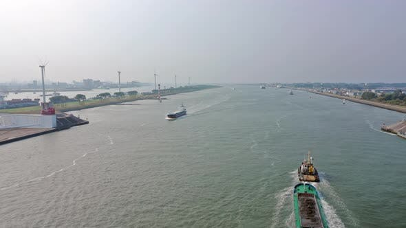 Time Lapse of Boats and Ships in Calandkanaal in the Port of Rotterdam